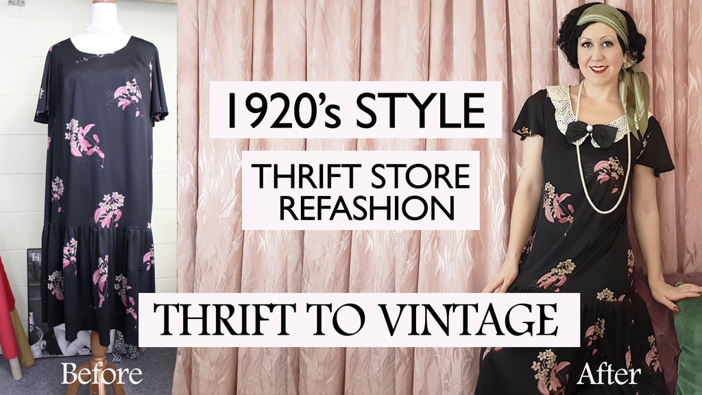 How to Refashion a Thrift Store Dress into a 1920's Style Outfit