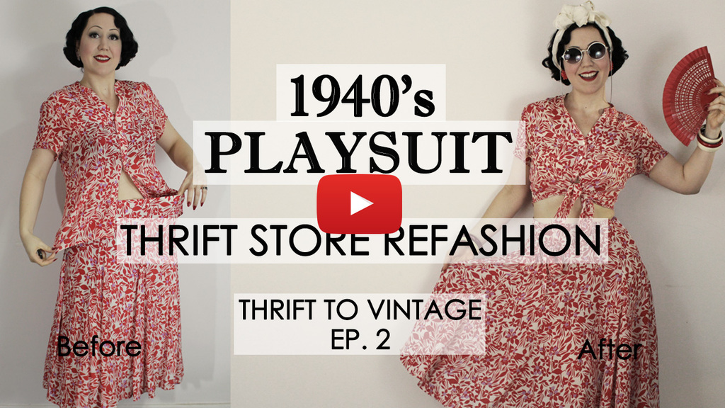 Thrift to Vintage ep2 – Refashioning a Boxy 80's 2pce Set into a 1940's Playsuit!